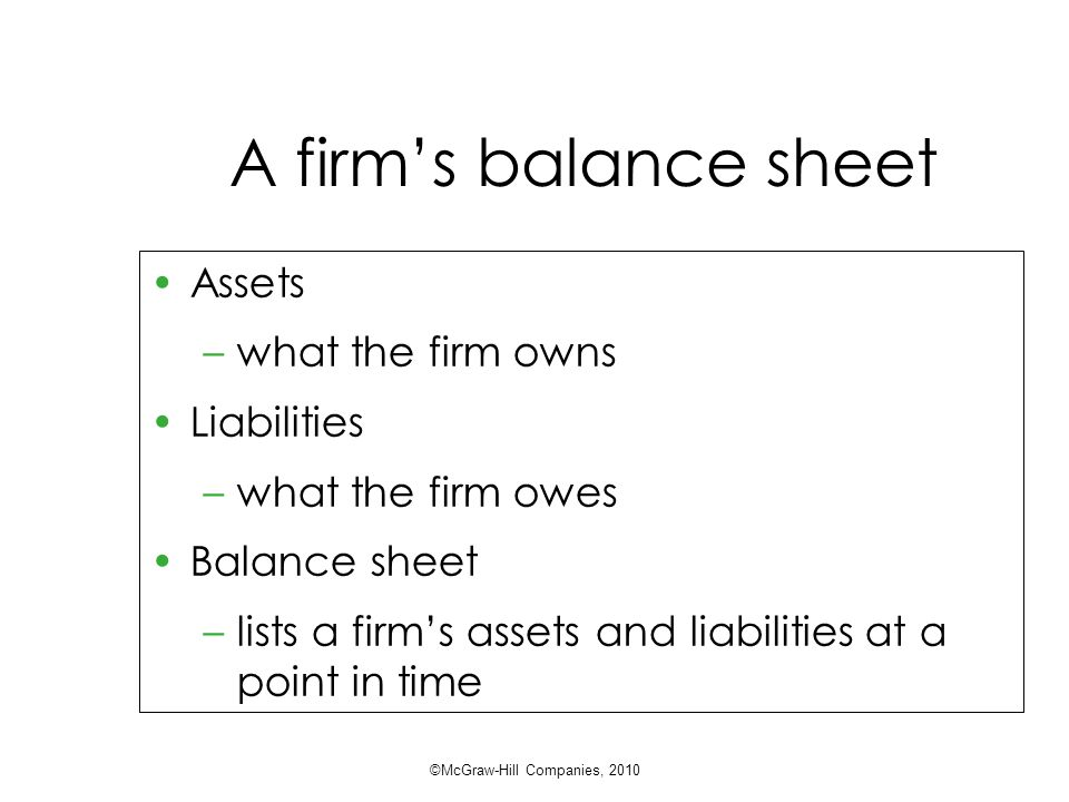 A firm's balance sheet Assets –what the firm owns Liabilities –what the firm owes Balance sheet –lists a firm's assets and liabilities at a point in time ©McGraw-Hill Companies, 2010