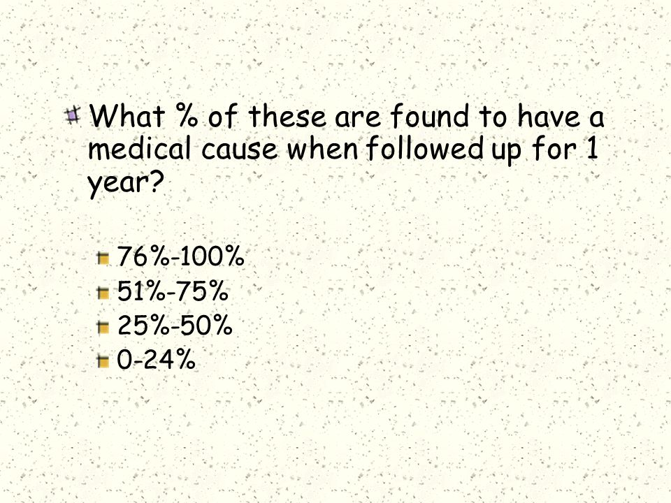 What % of these are found to have a medical cause when followed up for 1 year.