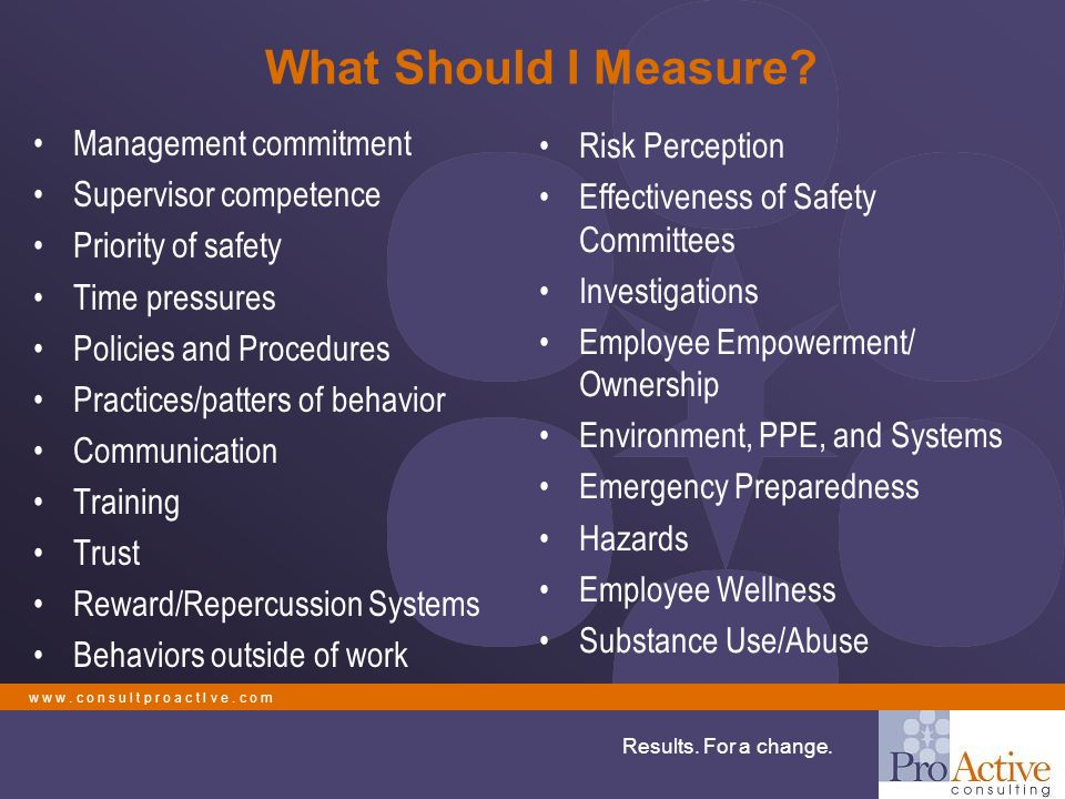 w w w. c o n s u l t p r o a c t I v e. c o m Results. For a change. What Should I Measure? Management commitment Supervisor competence Priority of sa