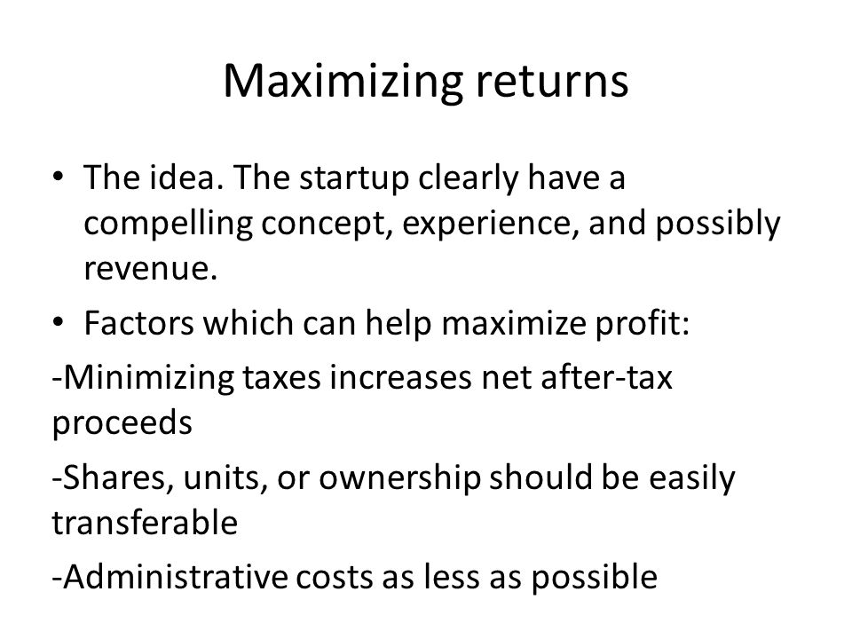 Minimizing risk Risk should be limited to capital invested -Legal structure and Insurance -Accurate financial record keeping and preventative measures against defalcation Internal and external audit if cost-benefit constraints are met Startups have higher inherent risk which may exclude them from typical financing (i.e.