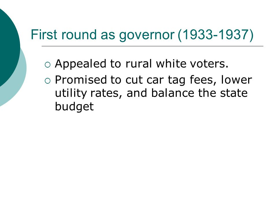 First round as governor (1933-1937)  Appealed to rural white voters.  Promised to cut car tag fees, lower utility rates, and balance the state budge