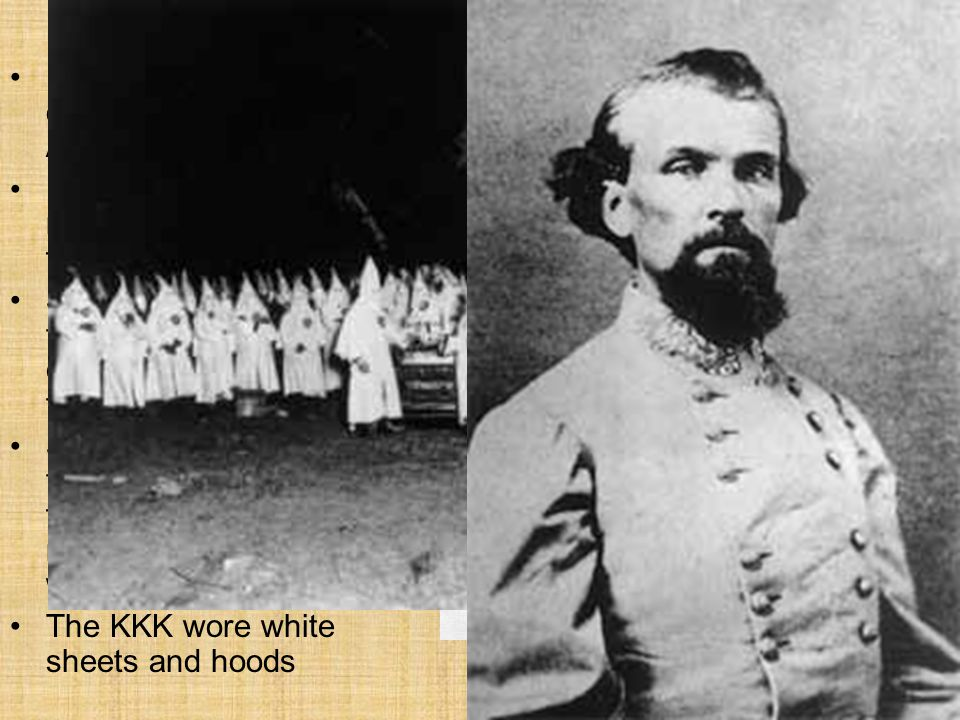 Resistance to Reconstruction Most Southerners opposed efforts to expand African Americans' rights Most white landowners refused to rent land to freed people creditStore owners refused them credit and employers would not hire them Secret societies, such as the Ku Klux Klan, used fear and violence to deny rights to freed men and women The KKK wore white sheets and hoods