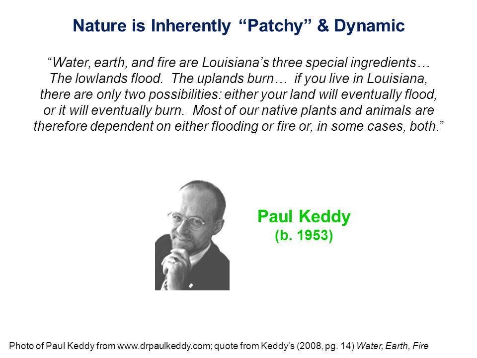 """Photo of Paul Keddy from www.drpaulkeddy.com; quote from Keddy's (2008, pg. 14) Water, Earth, Fire Nature is Inherently """"Patchy"""" & Dynamic """"Water, ear"""
