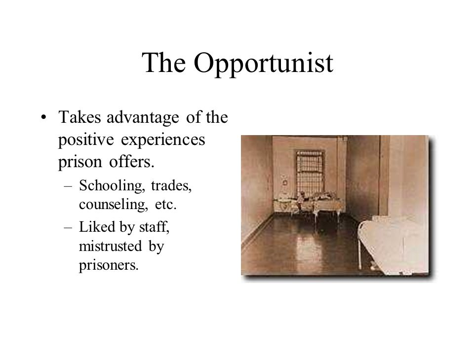 The Opportunist Takes advantage of the positive experiences prison offers.