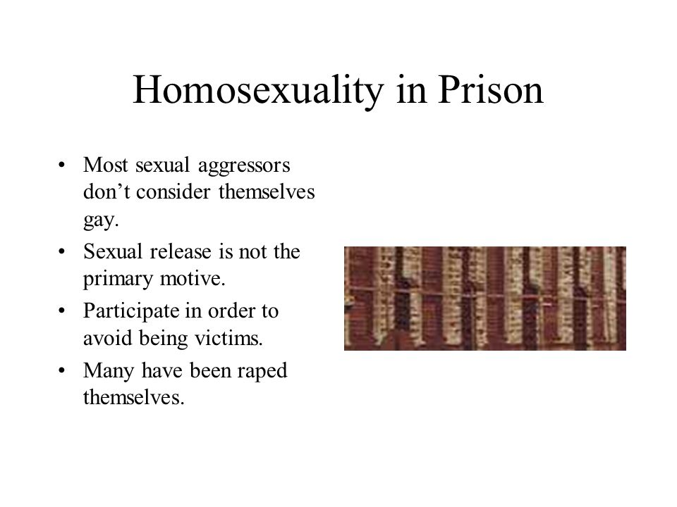 Homosexuality in Prison Most sexual aggressors don't consider themselves gay.