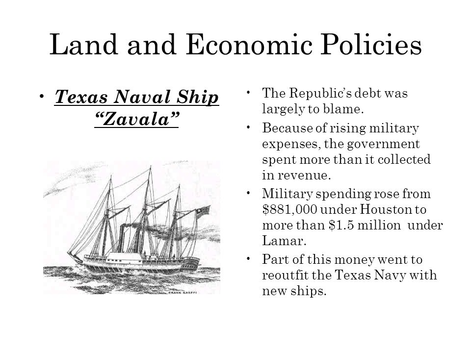 Land and Economic Policies Texas Naval Ship Zavala The Republic's debt was largely to blame.