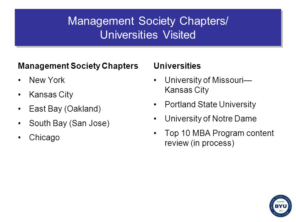 Management Society Chapters/ Universities Visited Management Society Chapters New York Kansas City East Bay (Oakland) South Bay (San Jose) Chicago Universities University of Missouri— Kansas City Portland State University University of Notre Dame Top 10 MBA Program content review (in process)