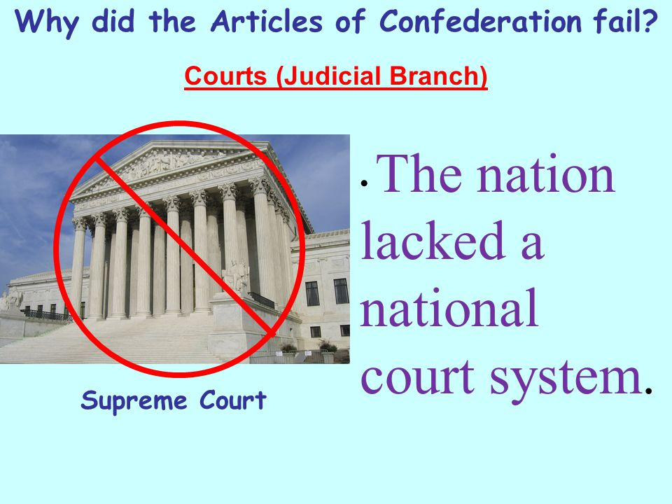 Why did the Articles of Confederation fail? Courts (Judicial Branch) The nation lacked a national court system. Supreme Court
