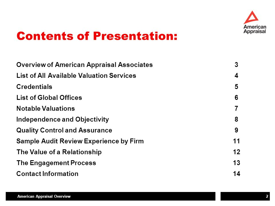 American Appraisal Overview3 Overview of American Appraisal  Established in 1896, employee owned  Largest, most experienced valuation-consulting firm in the world  The only global, independent valuation firm in the world  Our total independence from auditors, tax consultants and rating agencies provides clarity for governance boards  850 employees globally  Serving companies of all sizes, including 85% of the Fortune 500 over the last ten years  Full service, multi-industry, valuation consulting firm - Valuation-consulting is our only business  Responsive to our client's needs - 99% client satisfaction rating.