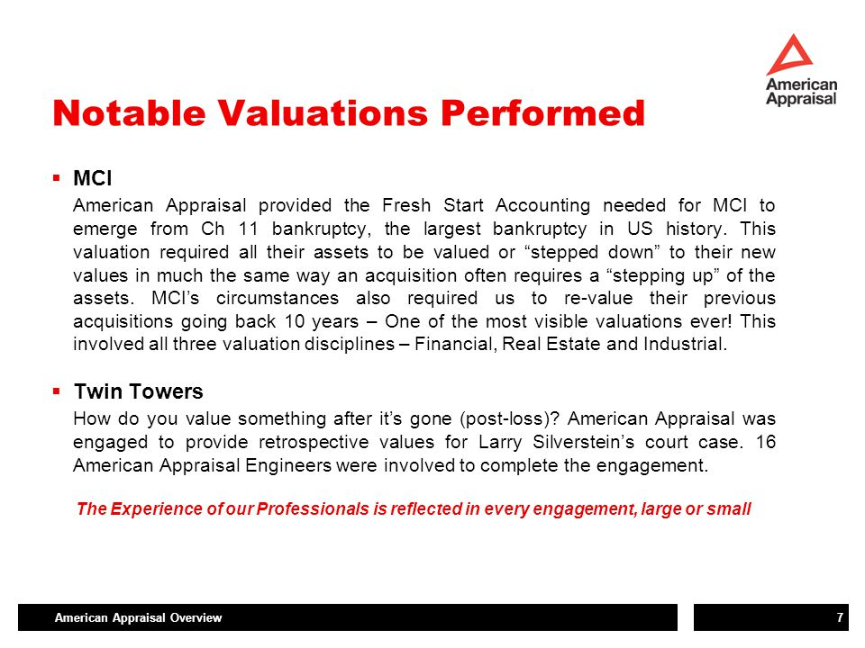 American Appraisal Overview7 Notable Valuations Performed  MCI American Appraisal provided the Fresh Start Accounting needed for MCI to emerge from C