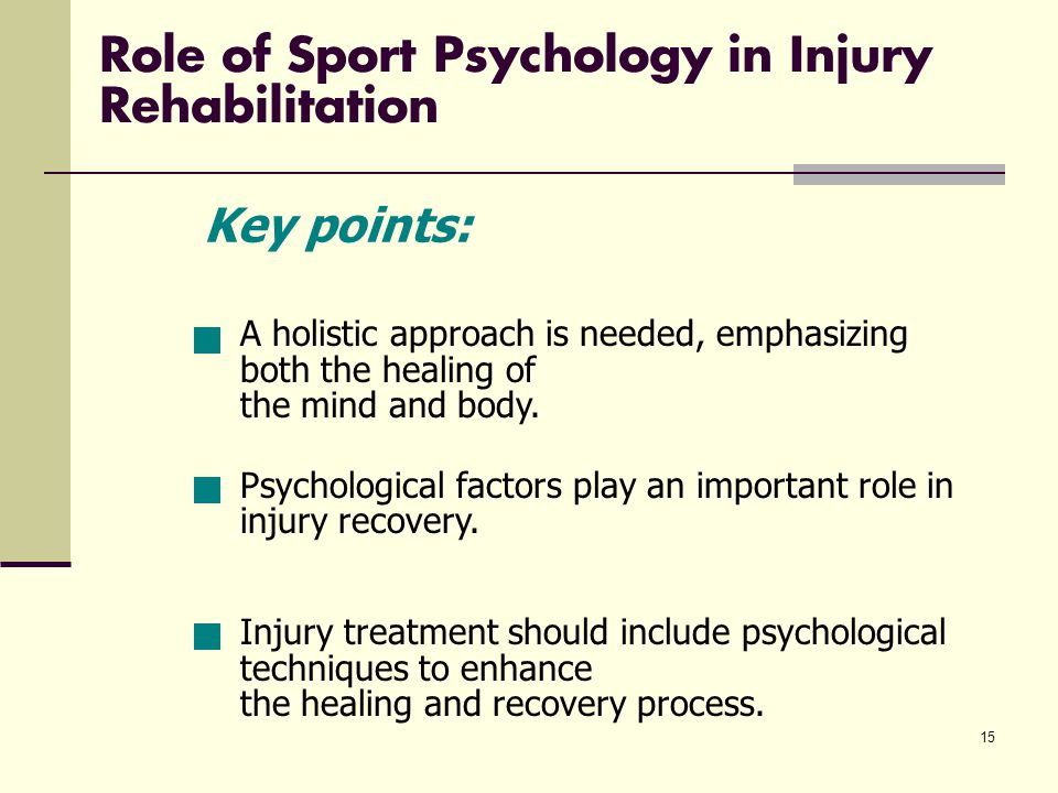 15 Role of Sport Psychology in Injury Rehabilitation A holistic approach is needed, emphasizing both the healing of the mind and body.