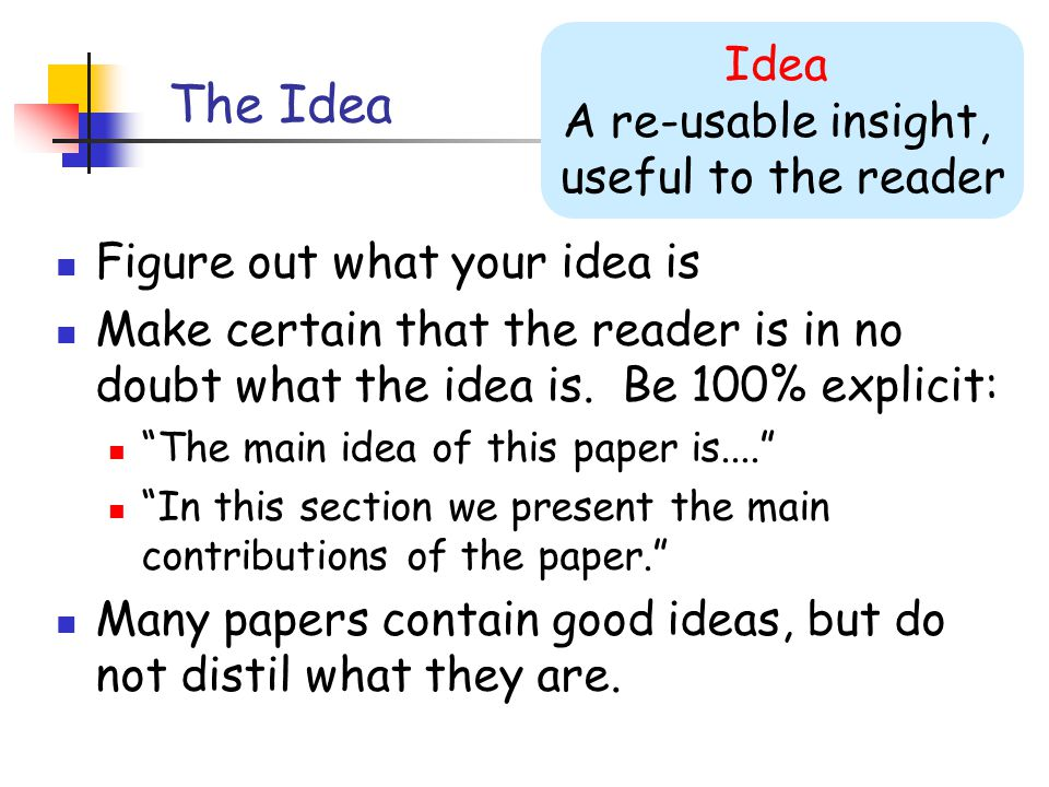 The Idea Figure out what your idea is Make certain that the reader is in no doubt what the idea is.