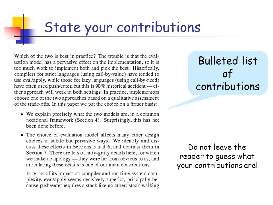 State your contributions Bulleted list of contributions Do not leave the reader to guess what your contributions are!