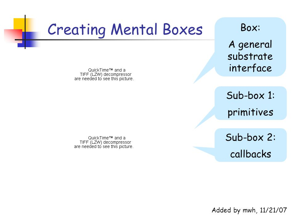 Creating Mental Boxes Box: A general substrate interface Sub-box 1: primitives Sub-box 2: callbacks Added by mwh, 11/21/07