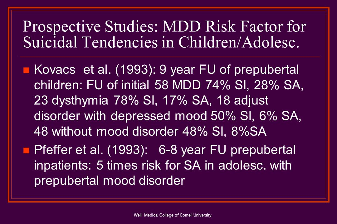 Weill Medical College of Cornell University Prospective Studies: MDD Risk Factor for Suicidal Tendencies in Children/Adolesc.