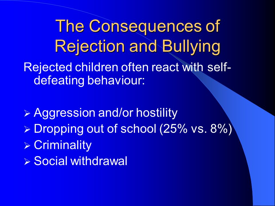 The Consequences of Rejection and Bullying Rejected children often react with self- defeating behaviour:  Aggression and/or hostility  Dropping out of school (25% vs.