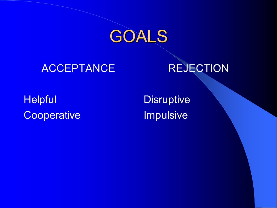 GOALS ACCEPTANCE Helpful Cooperative REJECTION Disruptive Impulsive