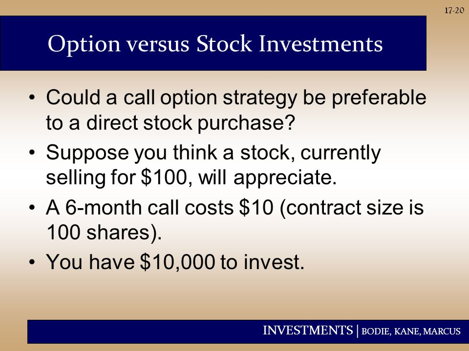 INVESTMENTS | BODIE, KANE, MARCUS 17-20 Option versus Stock Investments Could a call option strategy be preferable to a direct stock purchase? Suppose