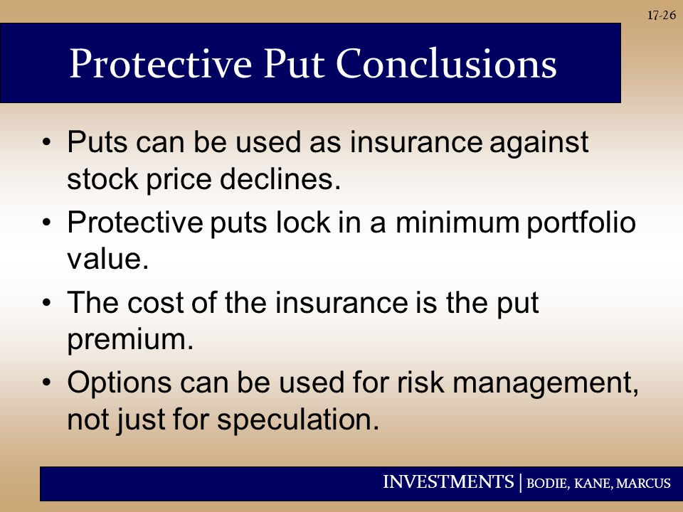 INVESTMENTS | BODIE, KANE, MARCUS 17-26 Protective Put Conclusions Puts can be used as insurance against stock price declines.