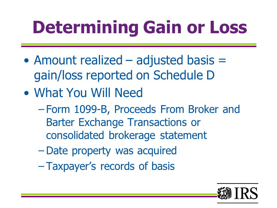 Determining Gain or Loss Amount realized – adjusted basis = gain/loss reported on Schedule D What You Will Need −Form 1099-B, Proceeds From Broker and Barter Exchange Transactions or consolidated brokerage statement −Date property was acquired −Taxpayer's records of basis