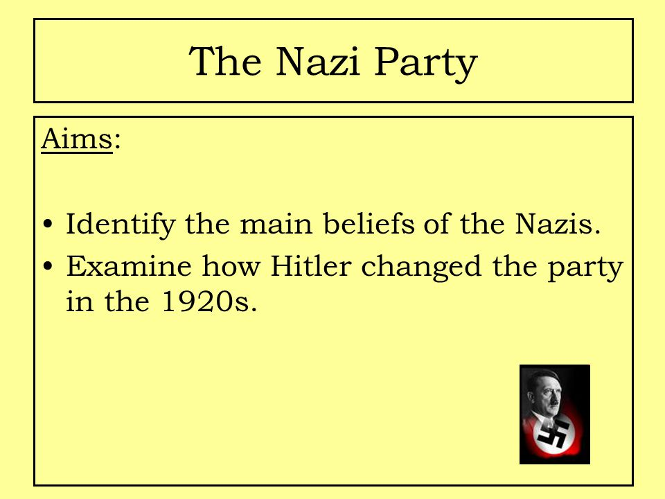 The Nazi Party Aims: Identify the main beliefs of the Nazis.