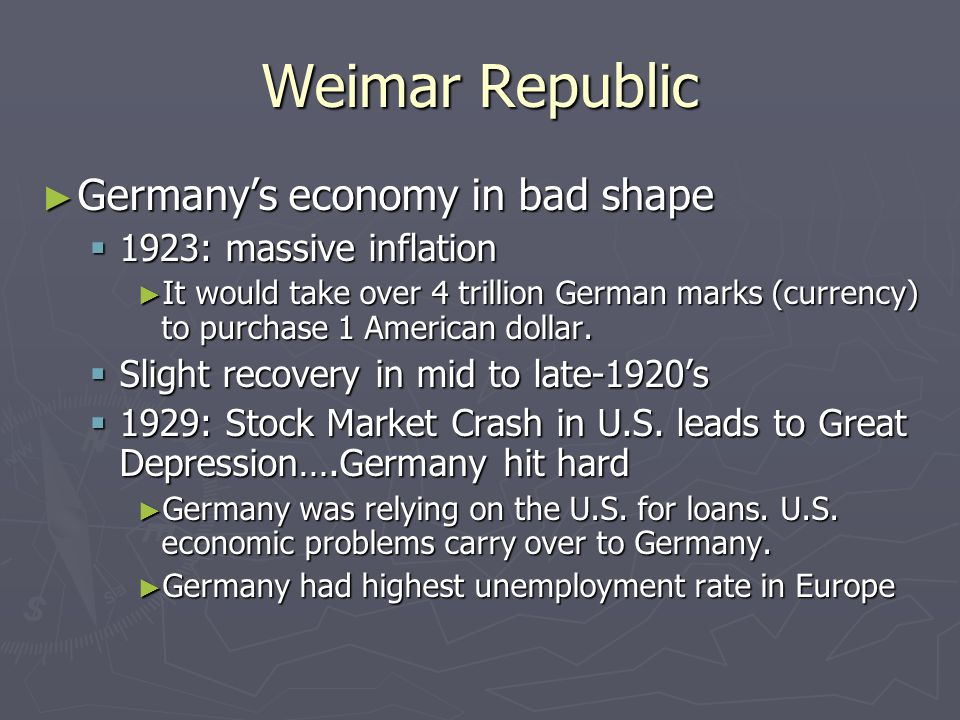 Weimar Republic ► Germany's economy in bad shape  1923: massive inflation ► It would take over 4 trillion German marks (currency) to purchase 1 American dollar.