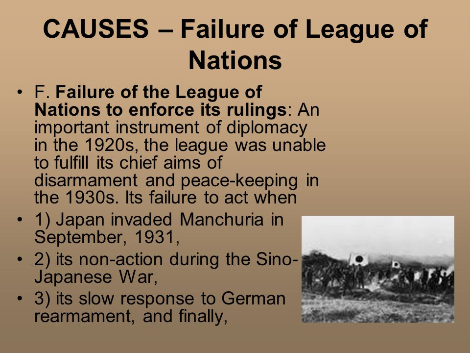 CAUSES – Failure of League of Nations F.
