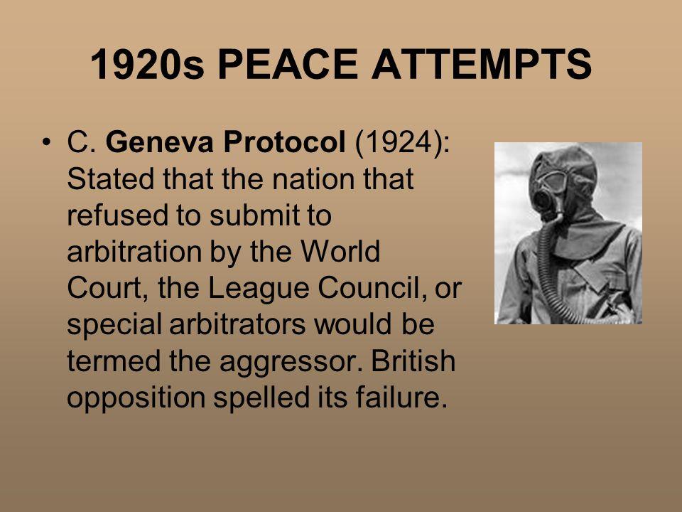 1920s PEACE ATTEMPTS C.