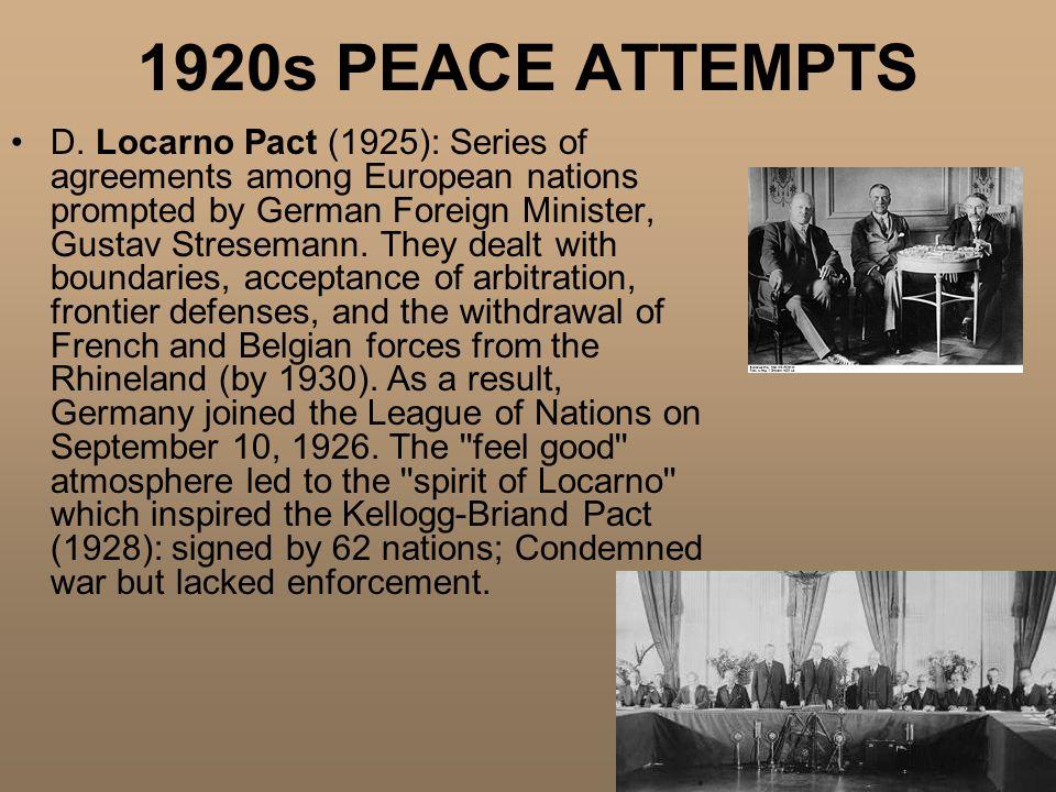 1920s PEACE ATTEMPTS D.