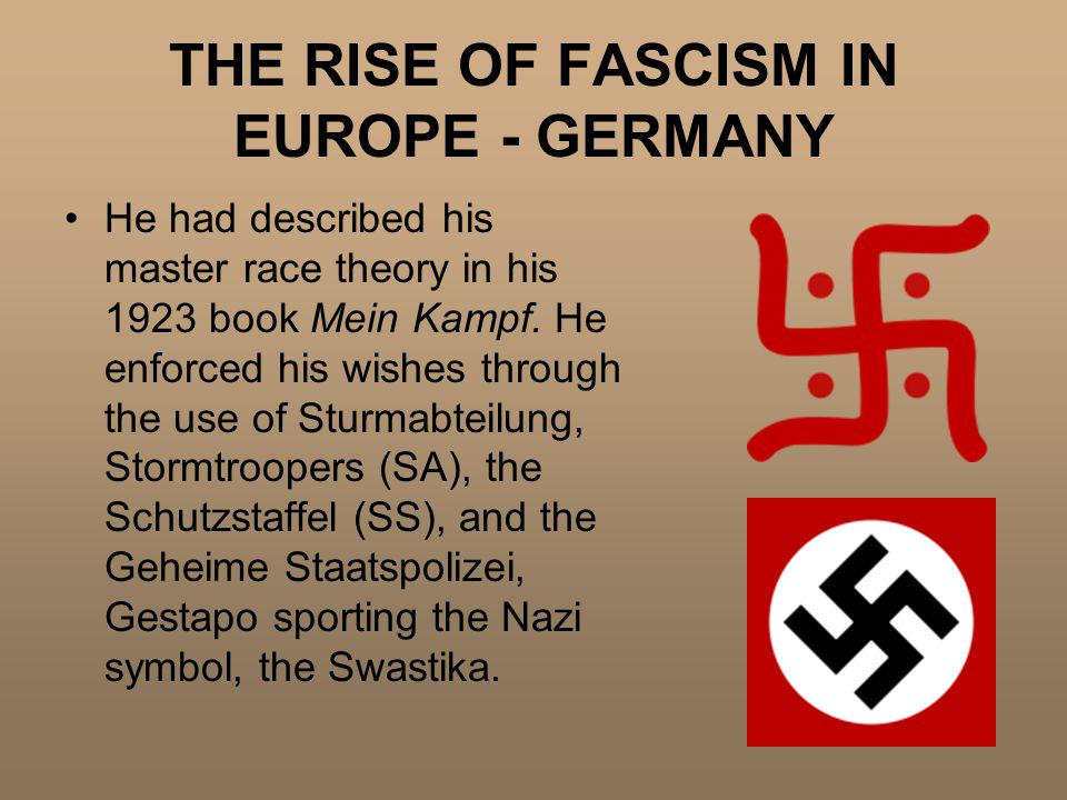 THE RISE OF FASCISM IN EUROPE - GERMANY He had described his master race theory in his 1923 book Mein Kampf.