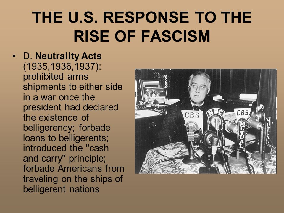 THE U.S. RESPONSE TO THE RISE OF FASCISM D.