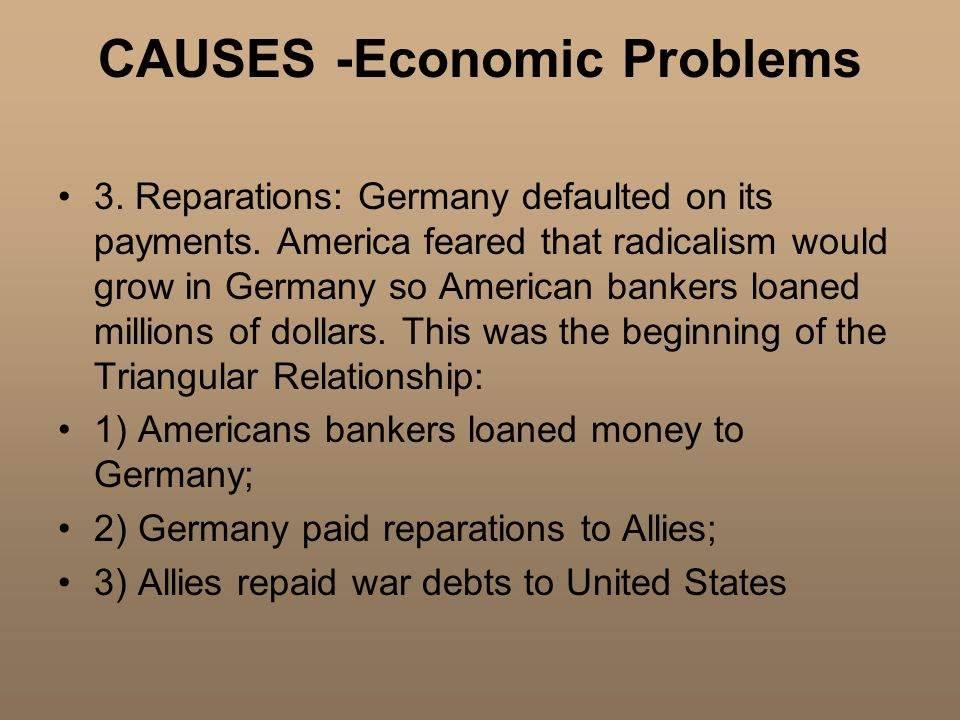 CAUSES -Economic Problems 3. Reparations: Germany defaulted on its payments.
