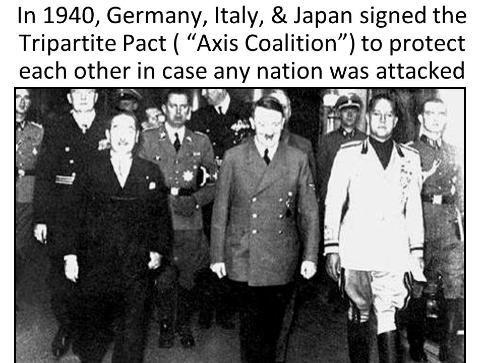 """In 1940, Germany, Italy, & Japan signed the Tripartite Pact ( """"Axis Coalition"""") to protect each other in case any nation was attacked"""