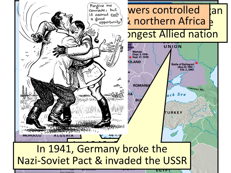 In 1940, France fell to the Nazis In 1940, Germany began bombing Britain, the strongest Allied nation In 1941, Germany broke the Nazi-Soviet Pact & in