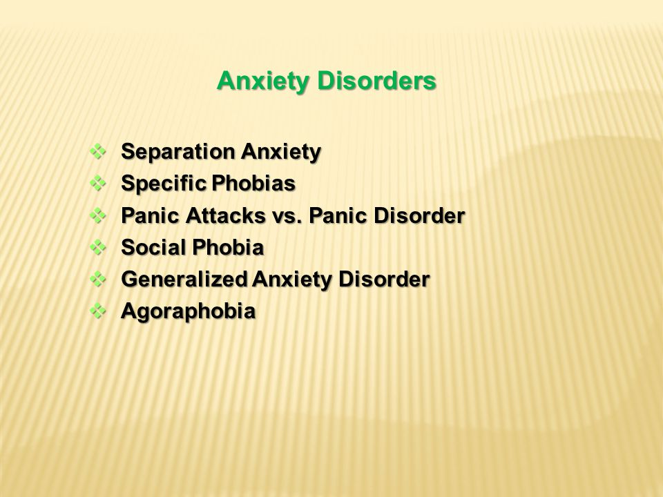 Anxiety Disorders  Separation Anxiety  Specific Phobias  Panic Attacks vs.