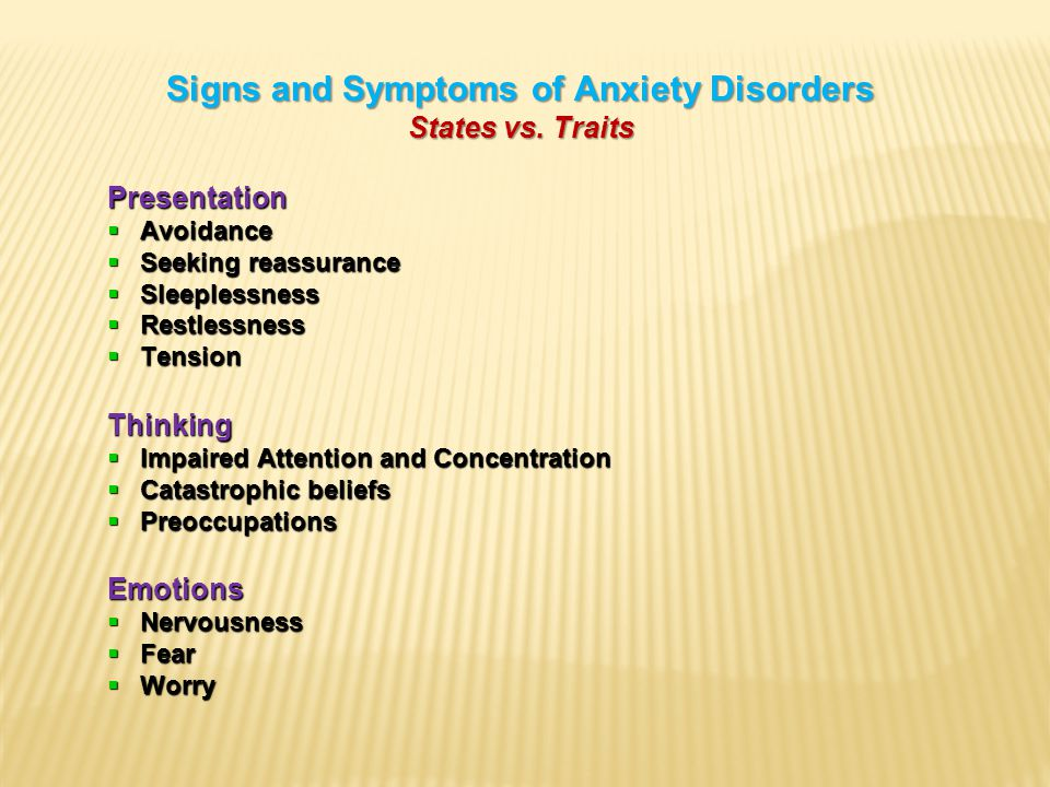 Signs and Symptoms of Anxiety Disorders States vs.