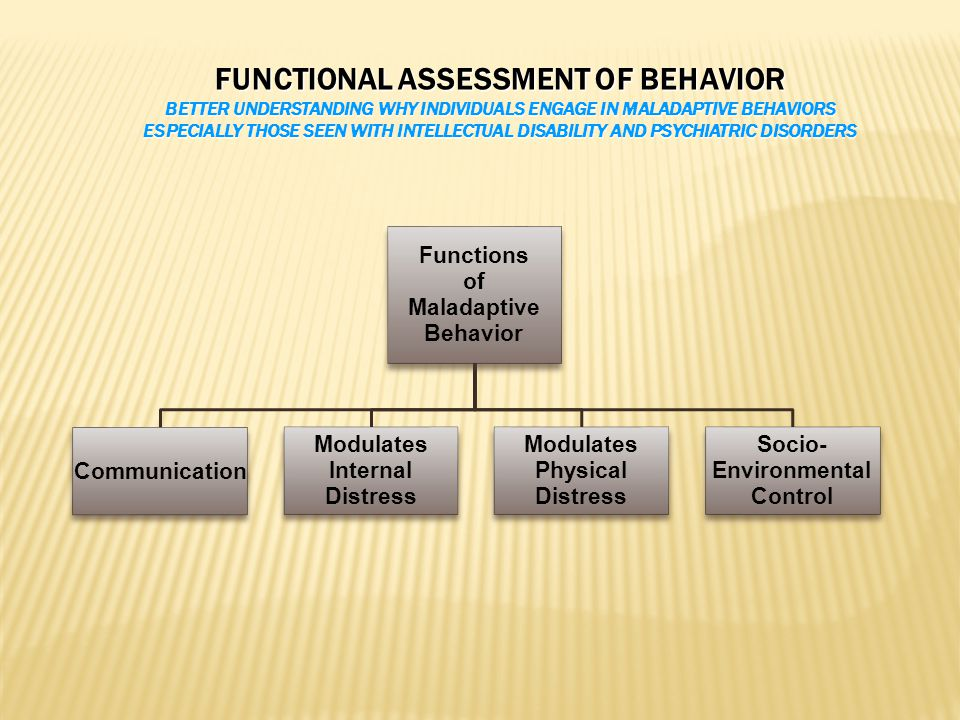 FUNCTIONAL ASSESSMENT OF BEHAVIOR BETTER UNDERSTANDING WHY INDIVIDUALS ENGAGE IN MALADAPTIVE BEHAVIORS ESPECIALLY THOSE SEEN WITH INTELLECTUAL DISABILITY AND PSYCHIATRIC DISORDERS Functions of Maladaptive Behavior Communication Modulates Internal Distress Modulates Physical Distress Socio- Environmental Control