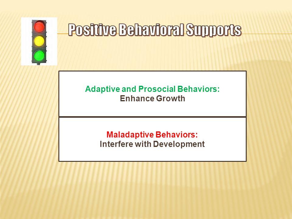 Adaptive and Prosocial Behaviors: Enhance Growth Maladaptive Behaviors: Interfere with Development