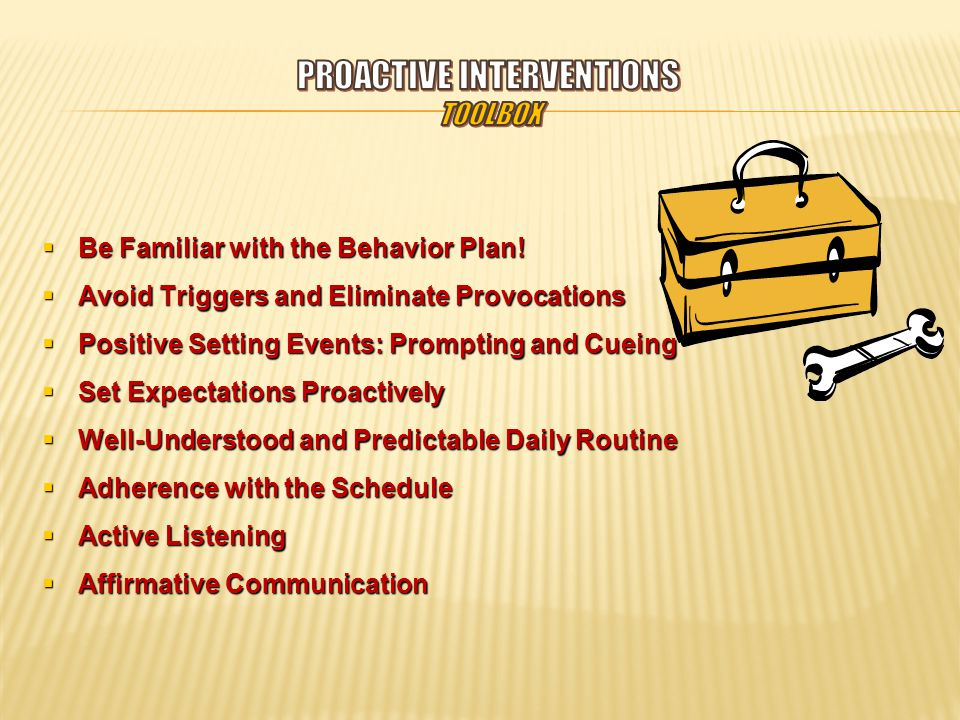  Be Familiar with the Behavior Plan.