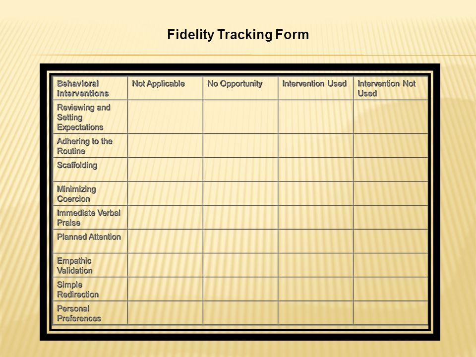 Fidelity Tracking Form