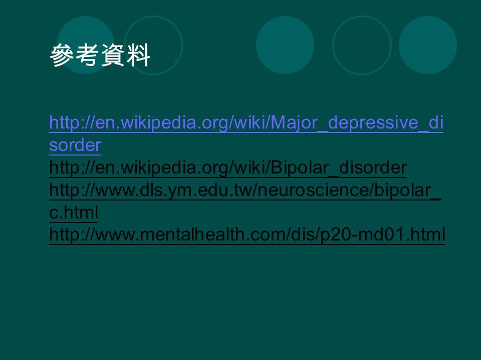 http://en.wikipedia.org/wiki/Major_depressive_di sorder http://en.wikipedia.org/wiki/Bipolar_disorder http://www.dls.ym.edu.tw/neuroscience/bipolar_ c.html http://www.mentalhealth.com/dis/p20-md01.html 參考資料