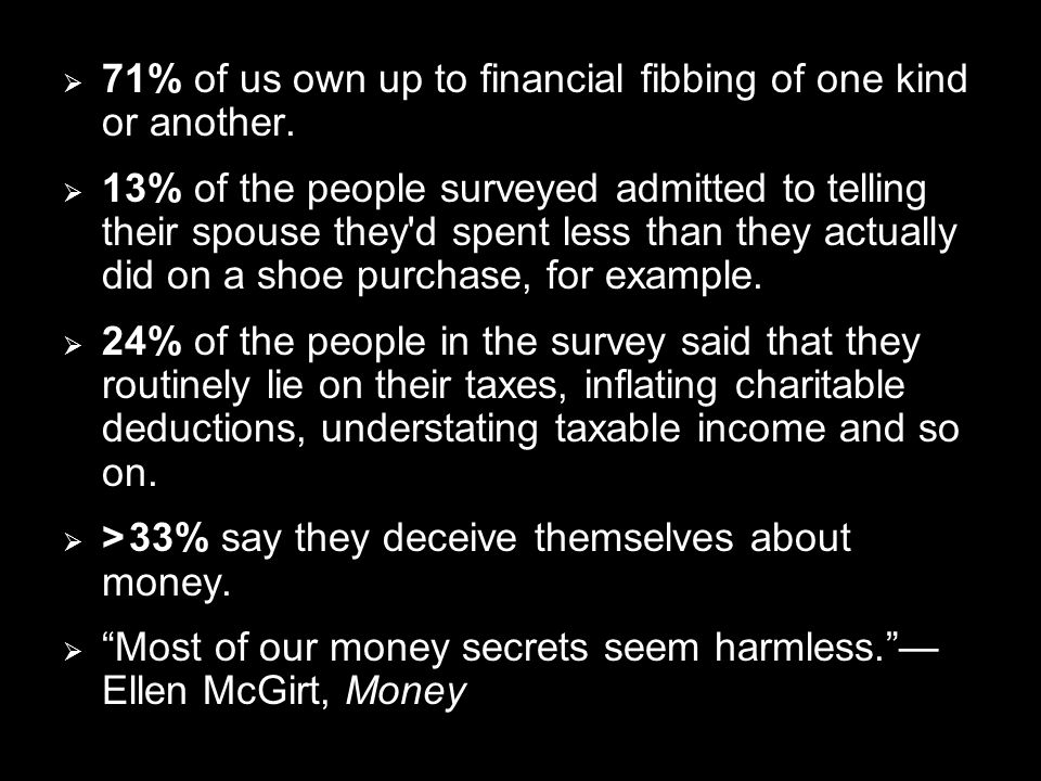  71% of us own up to financial fibbing of one kind or another.