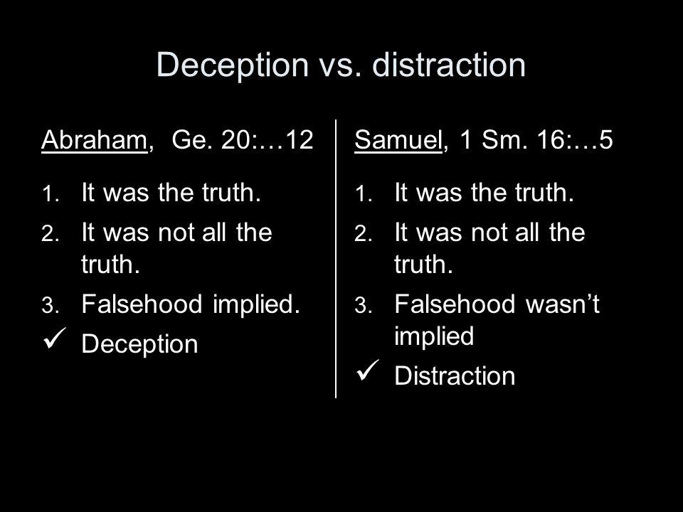 Deception vs. distraction Abraham, Ge. 20:…12 1.