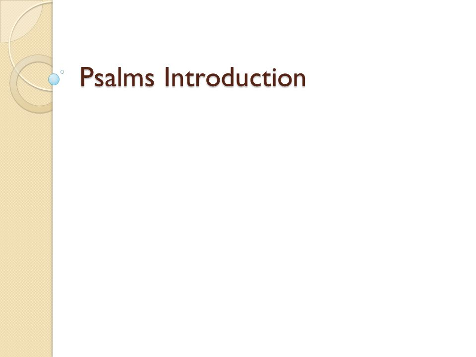 Psalms Introduction