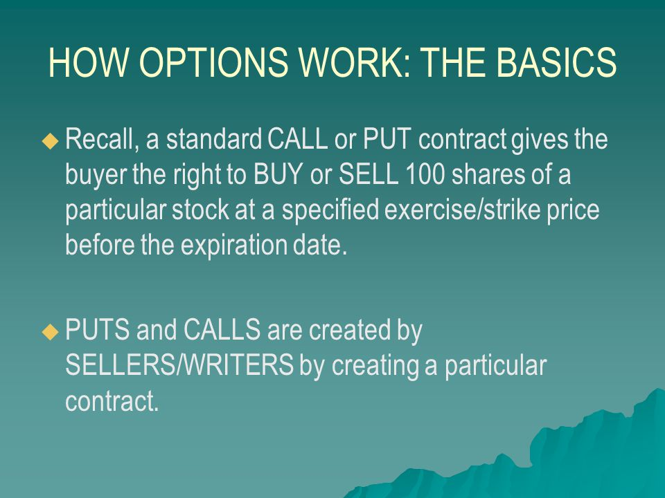 HOW OPTIONS WORK: THE BASICS   These WRITERS are investors or institutions that want to make profit from their beliefs about the underlying stock's likely price performance, just like the BUYER.