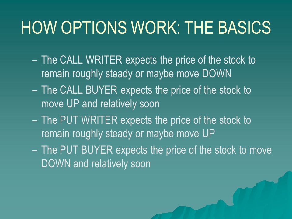 HOW OPTIONS WORK: AMY'S EXAMPLE   Amy thinks stock YAY price is going to go up.