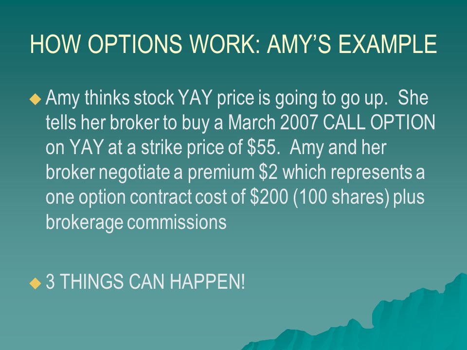 AMY'S EXAMPLE 1.Amy's call option expires worthless – YAY's price fluctuates but falls to $50 on the strike date.