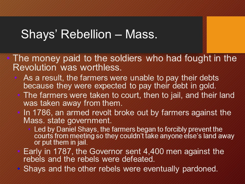 Shays' Rebellion – Mass.