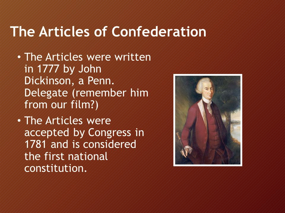 The Articles of Confederation The fear of having too much power in one person's hands reflects the experiences the colonies had under a monarchy In the Articles a national government is formed but the state governments limit the power of this national Congress