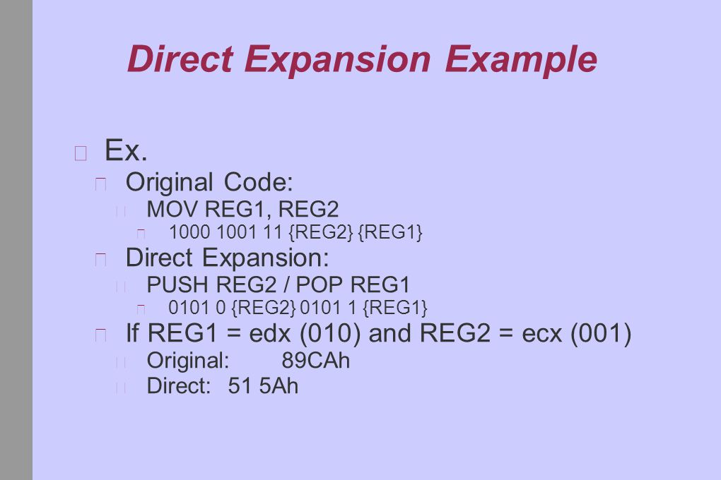 Direct Expansion Example Ex.